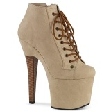 Vegan suede platform 18 cm RADIANT-1005 lace up ankle booties in beige