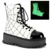 Vegan white 5 cm SLACKER-88 demonia ankle boots platform