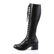 Vinyl lace up boots 5 cm - 70s years style hippie disco gogo under kneeboots