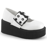 White 7,5 cm CREEPER-230 maryjane creepers women - rockabilly shoes with buckle