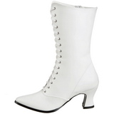White 7 cm VICTORIAN-120 Lace Up Ankle Calf Women Boots