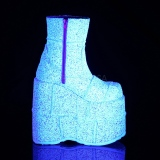 White Glitter 18 cm STACK-201G Platform Mens Ankle Boots