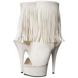 White Matte 15 cm DELIGHT-1019 womens fringe ankle boots high heels