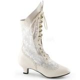 White Matte 5 cm FUNTASMA DAME-115 Retro Ankle Calf Boots