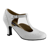 White Matte 7,5 cm retro vintage FLAPPER-26 Pumps with low heels