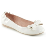 White OLIVE-03 ballerinas flat womens shoes with bow tie