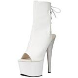 White Patent 18 cm Pleaser ADORE-1018 Platform Ankle Calf Boots