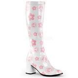 White Patent 8,5 cm Funtasma GOGO-300FL Hippie Women Knee Boots