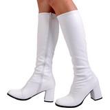 White Pu 8,5 cm Funtasma GOGO-300 Women Knee Boots