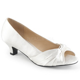 White Satin 5 cm FAB-422 big size pumps shoes