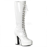 White Shiny 13 cm ELECTRA-2020 Platform Knee Boots
