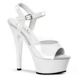 White Shiny 15 cm KISS-209 Platform High Heels Shoes