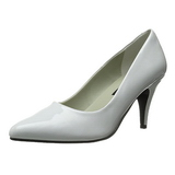 White Shiny 7,5 cm PUMP-420 Low Heeled Classic Pumps Shoes