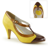 Yellow 8 cm PEACH-03 Pinup Pumps Shoes with Low Heels