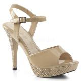 beige 12 cm ELEGANT-409 høyhælte sandaler strass platå
