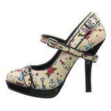 beige 12 cm PINUP SECRET-14 mary jane pumps sko