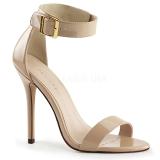 beige 13 cm AMUSE-10 sko med høye hæler for menn