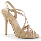 beige 13 cm Pleaser AMUSE-13 dame sandaler med hæl