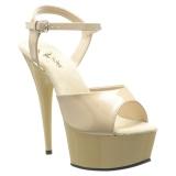 beige 15 cm DELIGHT-609 pleaser høye hæler for kvinner