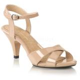 beige 8 cm BELLE-315 sko med høye hæler for menn