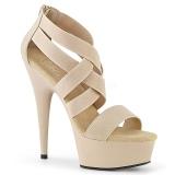 beige elastisk band 15 cm DELIGHT-669 pleaser sko med hæler til kvinner