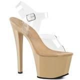 beige gjennomsiktig 18 cm SKY-308 platå høye hæler sko