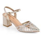 beige glitter 7 cm Fabulicious FAYE-06 dame sandaler med hæl