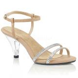 beige glitter 8 cm BELLE-316 dame sandaletter lavere hæl