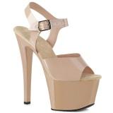 beige høye hæler 18 cm SKY-308N JELLY-LIKE strekkmateriale platå høye hæler