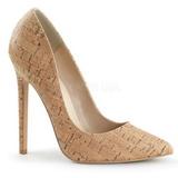beige kork 13 cm SEXY-20 dame pumps sko flate hæl