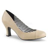 beige kunstlær 7,5 cm JENNA-01 store størrelser pumps sko