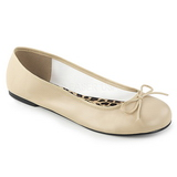 beige kunstlær ANNA-01 store størrelser ballerina sko