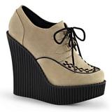 beige kunstlær CREEPER-302 wedge creepers sko med kilehæler