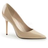 beige lakk 10 cm CLASSIQUE-20 store størrelser stilettos sko