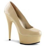 beige lakk 15 cm Pleaser DELIGHT-685 platå pumps høy hæl