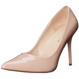 beige lakkert 10 cm CLASSIQUE-20 dame pumps sko stiletthæl