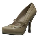 beige lakkert 12 cm CUTIEPIE-02 dame pumps sko flate hæl
