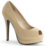 beige lakkert 13,5 cm BELLA-12 dame pumps sko stiletthæl