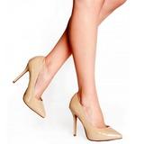 beige lakkert 13 cm AMUSE-20 dame pumps sko stiletthæl