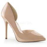 beige lakkert 13 cm AMUSE-22 klassiske pumps sko til dame