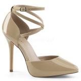 beige lakkert 13 cm AMUSE-25 høye pumps fest sko med hæl