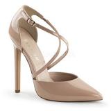 beige lakkert 13 cm SEXY-26 klassiske pumps sko til dame