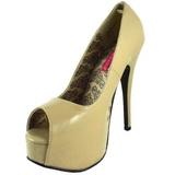 beige lakkert 14,5 cm Burlesque TEEZE-22 dame pumps sko stiletthæl