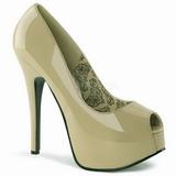 beige lakkert 14,5 cm TEEZE-22 dame pumps sko stiletthæl