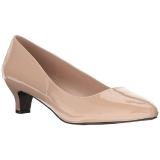 beige lakkert 5 cm FAB-420W dame pumps sko flate hæl