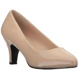 beige lakkert 8 cm DIVINE-420W dame pumps sko flate hæl