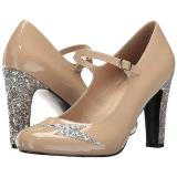 beige lakklær 10 cm QUEEN-02 store størrelser pumps sko
