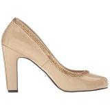 beige lakklær 10 cm QUEEN-04 store størrelser pumps sko