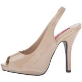 beige lakklær 12,5 cm EVE-04 store størrelser sandaler dame
