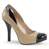 beige lakklær 12,5 cm EVE-07 store størrelser pumps sko